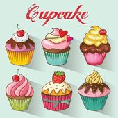 Cupcakes design set. Vector illustration — Stock Vector