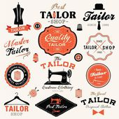 Collection of vintage retro tailor labels, badges and icons — Stock Vector