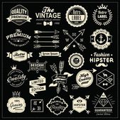 Collection of vintage labels, arrows, ribbons, symbols and design elements — ストックベクタ
