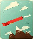 雲とレトロなポスター デザイン. — ストックベクタ