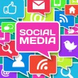 Social network icons on colors - Stockfoto
