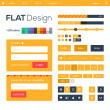 Flat web and mobile design elements, buttons, icons. Website template. — Stock Vector
