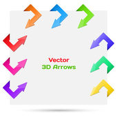 Set vector arrows in the form of paper stickers — Stock Vector