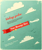 Retro Poster Design with clouds. — Stock Vector