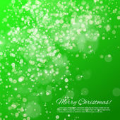 Green Christmas background with bokeh and stars — Stock Vector