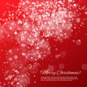 Red Christmas background with bokeh and stars — Vector de stock