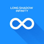 Infinity symbols with long shadow — Stock Vector