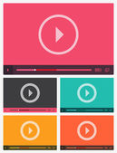 Modern flat video player interface. — Stock Vector