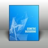 Resumen antecedentes geométrico azul en marco negro sobre fondo 3d — Vector de stock