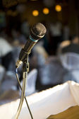 Microphone soft lights behind — Stock Photo