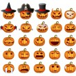 Stock Vector: Halloween Pumpkin Set