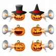 Halloween Pumpkins ang megaphone — Stock Vector