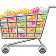 Shoppingcart with Sweetmeat — Stock Vector