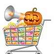Halloween shoppingcart — Stock Vector