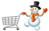 Snowman and shoppingcart — Stock Vector