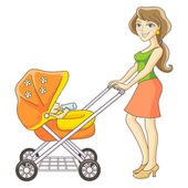 Mother and baby stroller — Stock Vector