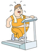 Fat man and treadmill — Stock Vector