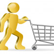 Human and shopping cart - Stock Vector