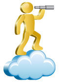 Human on a cloud — Stock Vector