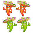 Chili Peppers in Hats — Stock Vector