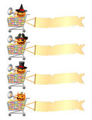Halloween shoppingcarts and banners — Stock Vector