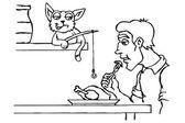 Cat steals food — Stock Vector