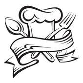 Шеф-повар шляпу, ложка и вилка — Cтоковый вектор