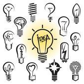 Bulb icon set — Stock Vector
