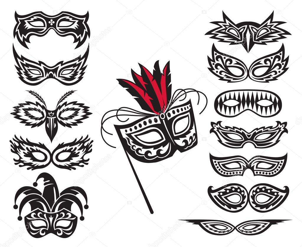 Set of isolated carnival masks — Stock Vector #14005733