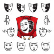 Stock Vector: Set of theatrical masks