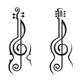 Violín, guitarra y treble clef — Vector de stock