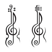 Violín, guitarra y treble clef — Vector de stock