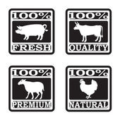 Set of butcher shop labels — Stock Vector