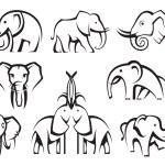 Elephants set — Vector de stock  #25871791