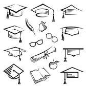 Graduation caps — Stock Vector