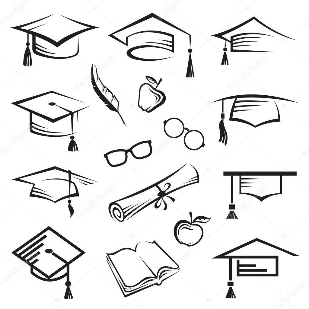 Birretes de graduación \u2013 Ilustración de stock