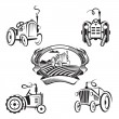 Set of tractors — Stock Vector