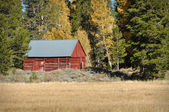 Red Cabin in the Fall — Stock Photo