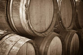 Wine Barrels in a Cellar — Stock Photo