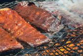 BBQ ribs on the Grill — Stock Photo