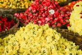 Yellow Chrysanthemum Flowers in a Basket — Stock Photo