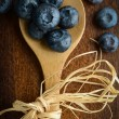 Blueberries on a Spoon Close Up — Stock Photo