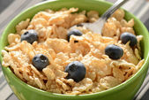 Bowl of Cereal with Blueberries Close Up — Stock Photo