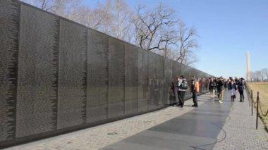 People at Vietnam War Memorial — Stock Video