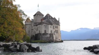 The Chillon castle in Montreux — Stock Video