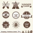 Vector Set: Camping and Outdoor Labels and Stickers — Stock Vector