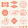 Vector Set: Dog and Pet ID Tag Labels and Stickers - Stock Vector