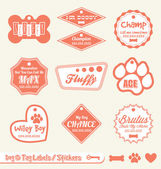 Vector Set: Dog and Pet ID Tag Labels and Stickers — Stok Vektör