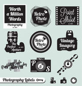 Vector Set: Photography an Camera Labels and Stickers — Stock Vector