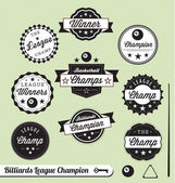 Vector Collection: Billiards League Champion Labels — Stock Vector